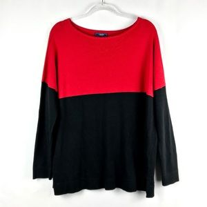 Chaps Red & Black Long Sleeve Knit Top